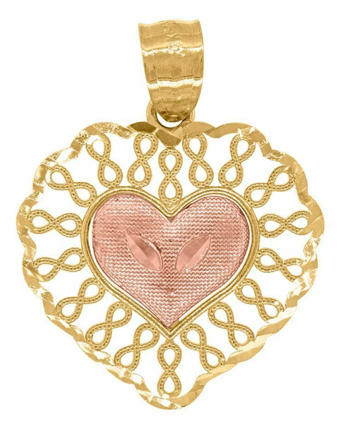 14kt Gold Women's Two-tone Infinity Heart Pendant Charm 82623