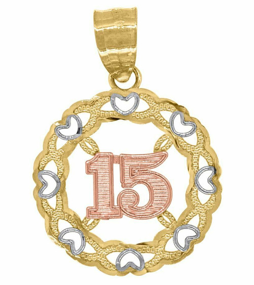 14kt Gold Tri-color Diamond Cut 15 Anos Round Quinceanera Pendant Charm 82595