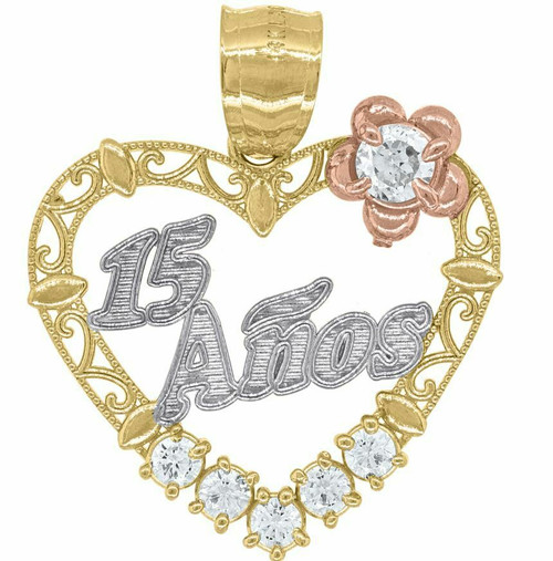 14kt Gold Womens Tri-color SD Heart 15 Anos Quinceanera Pendant Charm 82586