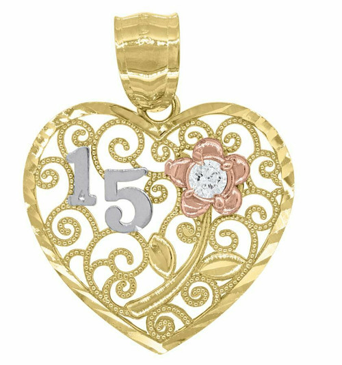 14kt Gold Womens Tri-color SD Heart 15 Anos Quinceanera Pendant Charm 82584