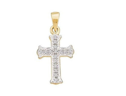10kt Yellow Gold Diamond Small Scalloped Cross Religious Pendant 1/12 Cttw