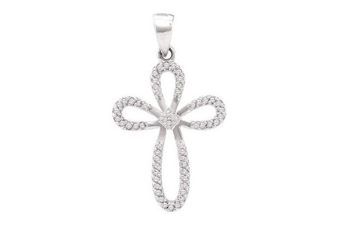 10kt White Gold Diamond Cross Pendant 1/5 Ct