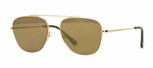 Authentic Tom Ford FT 0667 Abott 30G Gold/Brown With Gold Mirror Sunglasses