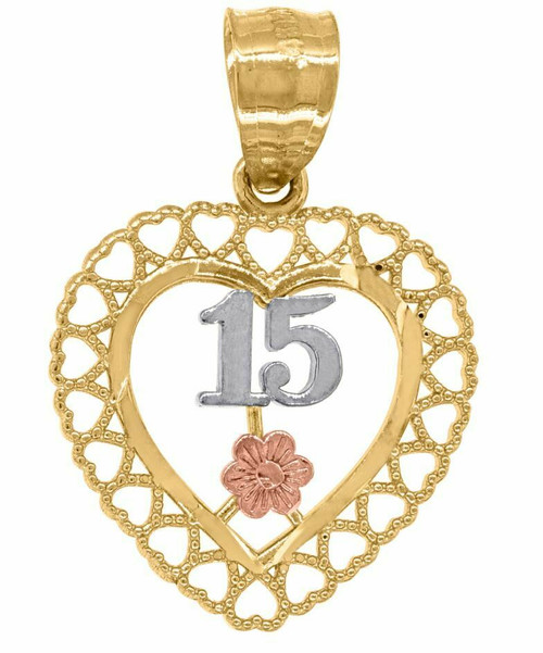 14kt Gold Women's Tri-color Diamond Cut 15 Anos Heart Quinceanera Pendant 82605