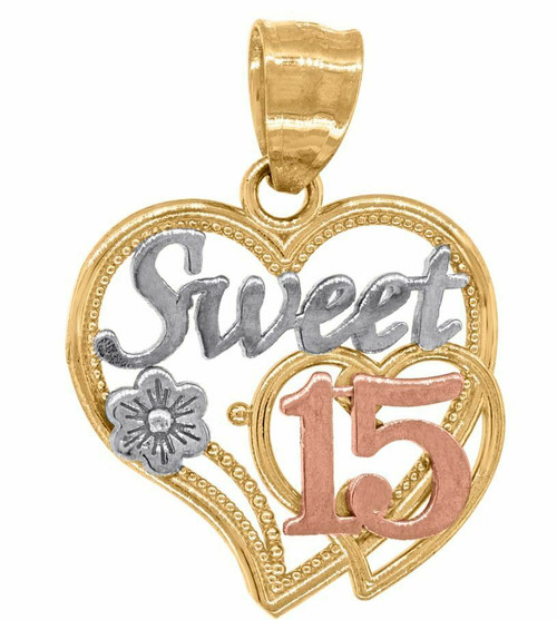 14kt Gold Women's Tri-color 15 Anos Sweet Heart Quinceanera Pendant 82609