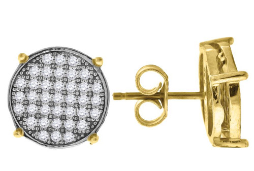 10kt Yellow Gold Two-tone Simulated Diamond Mens Round Push Back Studs 68990