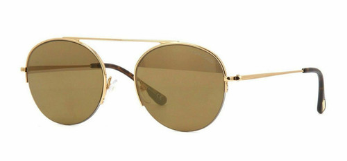 Authentic Tom Ford FT 0668 Finn 30G Rose Gold/Brown With Gold Mirror Sunglasses