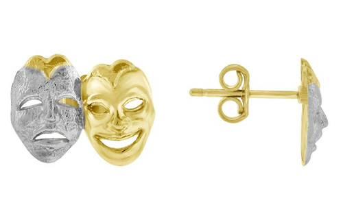 10kt Yellow Gold Two-tone Mens Comedy Tragedy Masks Push Back Studs 72443