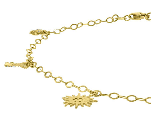 10kt Yellow Gold Women's Polished Finish Fashion Anklet Size: 10 Inches 78537