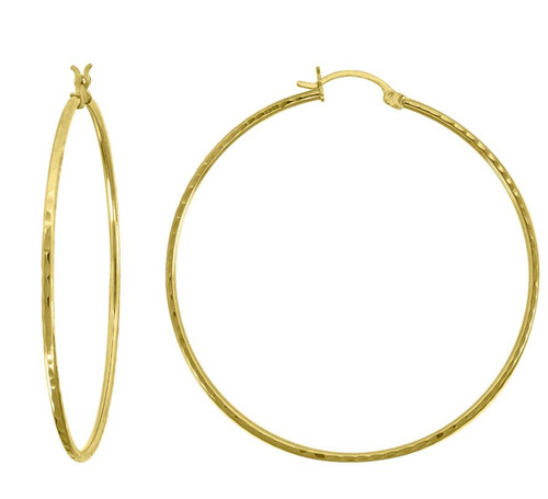 10kt Yellow Gold Womens Polished Finish Classic Hoop Earrings