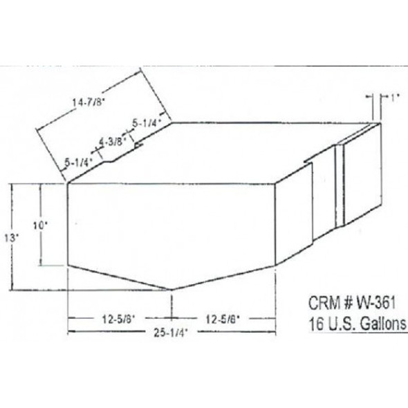 16 Gallon Bow Shaped Water Tank | W-361