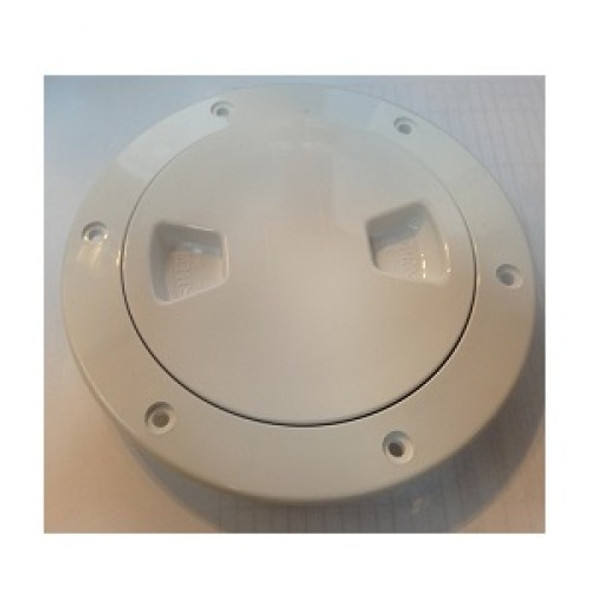 "6"" Inspection Lid - White Collar, White Lid 