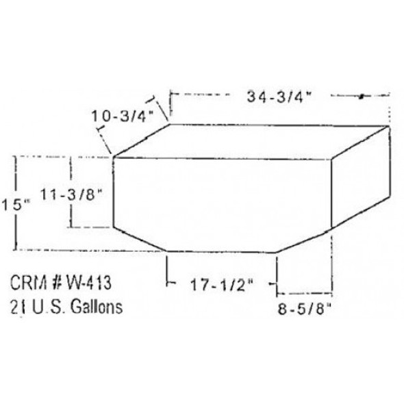20 Gallon Bow Shaped Water Tank | W-413