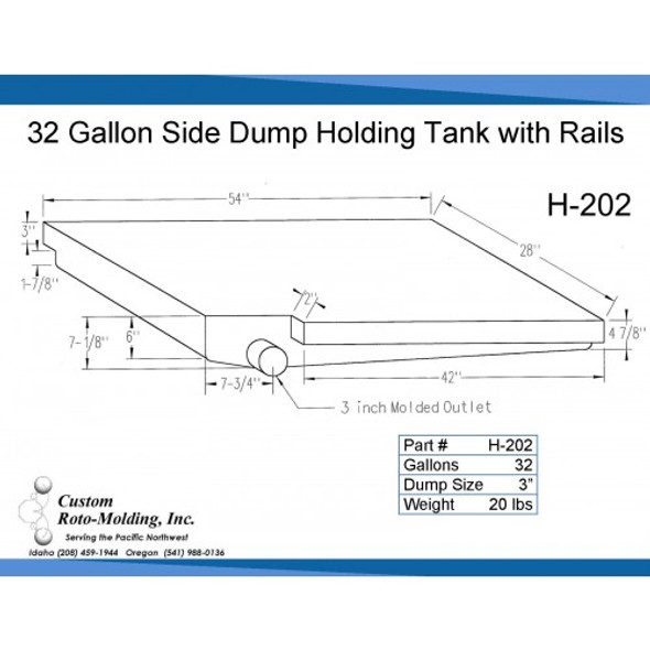 32 Gallon Side Dump RV Holding Tank | H-202