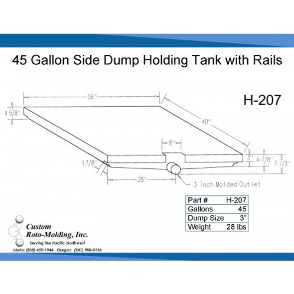 45 Gallon Side Dump RV Holding Tank | H-207