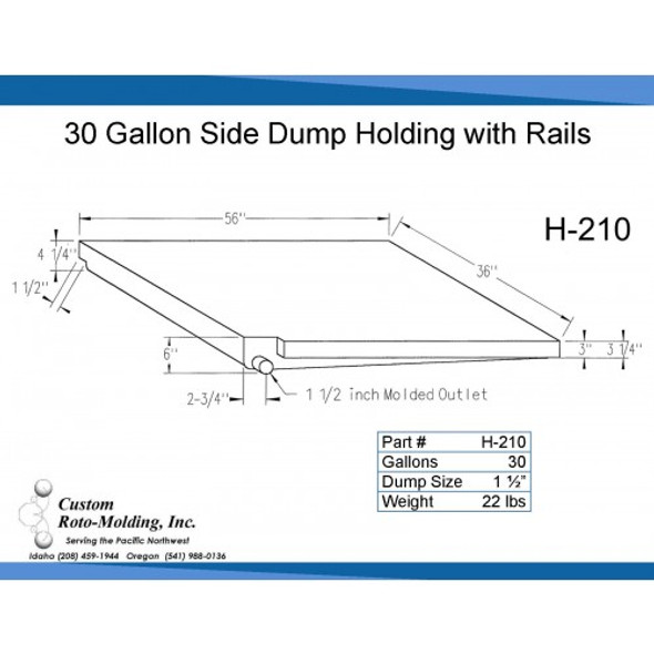 30 Gallon Side Dump RV Holding Tank | H-210