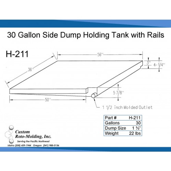 30 Gallon Side Dump RV Holding Tank | H-211