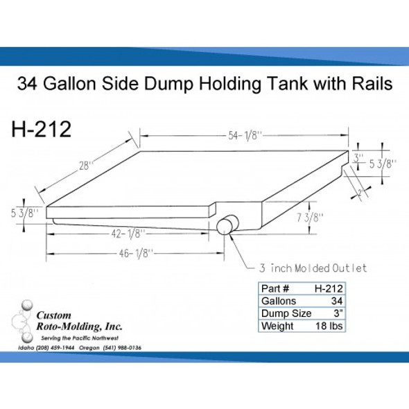 34 Gallon Side Dump RV Holding Tank | H-212