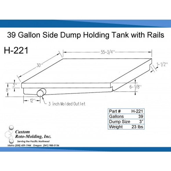 39 Gallon Side Dump RV Holding Tank | H-221