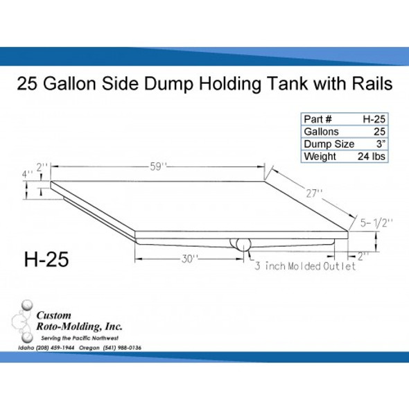 25 Gallon Side Dump RV Holding Tank | H-25