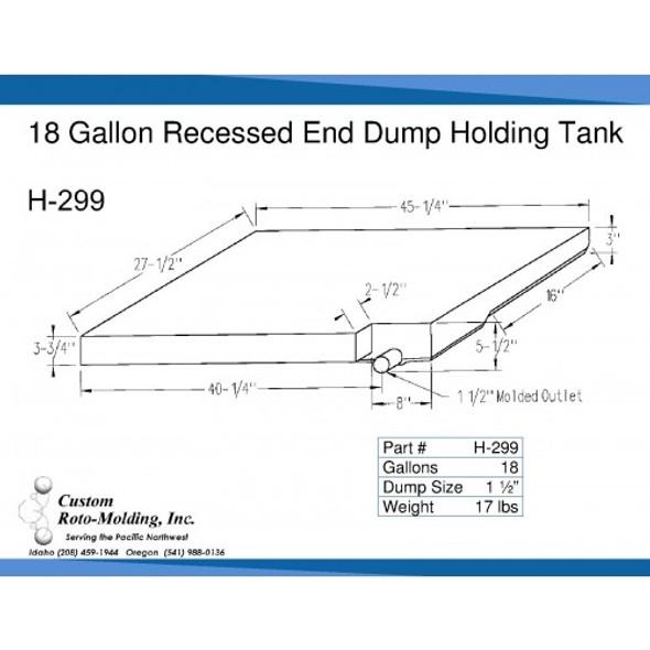 18 Gallon Side Dump RV Holding Tank | H-299