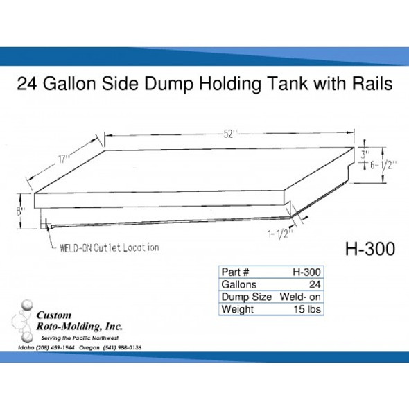 24 Gallon Side Dump RV Holding Tank | H-300