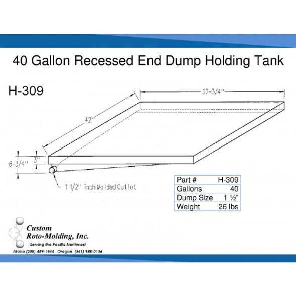 40 Gallon Side Dump RV Holding Tank | H-309