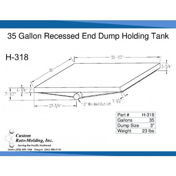 35 Gallon Side Dump RV Holding Tank | H-318
