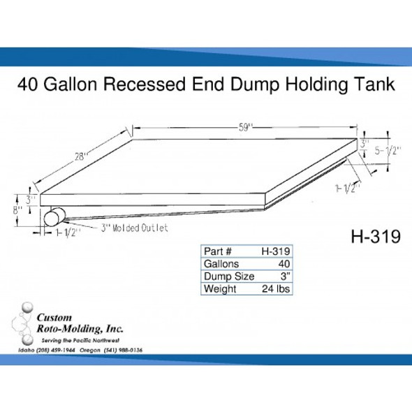 40 Gallon Side Dump RV Holding Tank | H-319