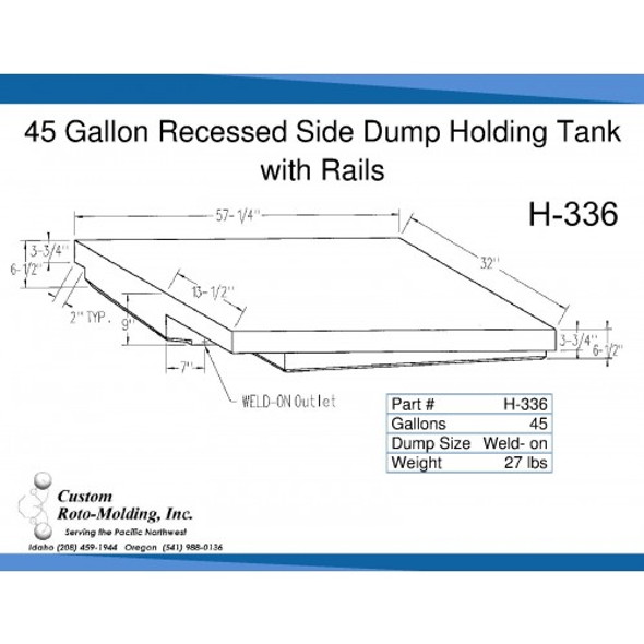 45 Gallon Side Dump RV Holding Tank | H-336
