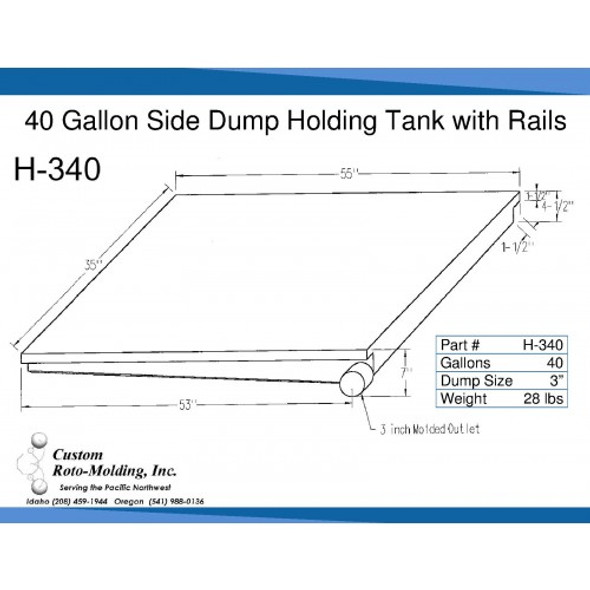 40 Gallon Side Dump RV Holding Tank | H-340