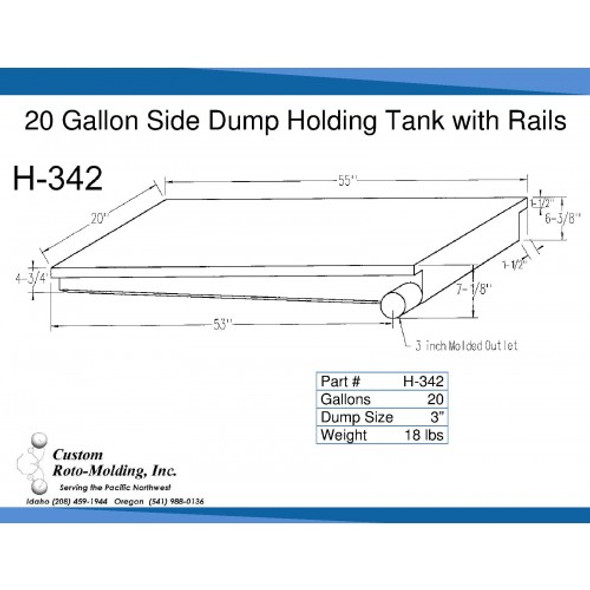 20 Gallon Side Dump RV Holding Tank | H-342