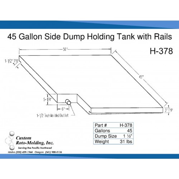 45 Gallon Side Dump RV Holding Tank | H-378