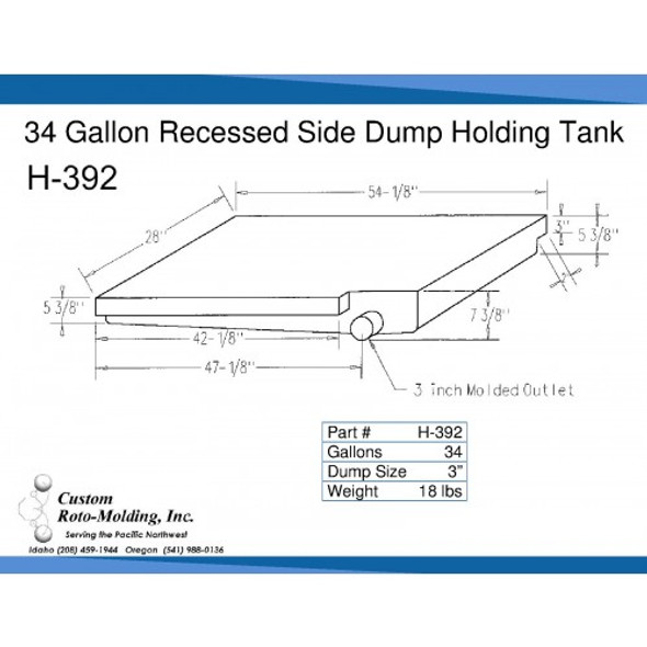 34 Gallon Side Dump RV Holding Tank | H-392