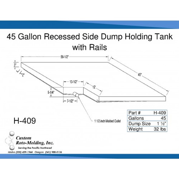 45 Gallon Side Dump RV Holding Tank | H-409
