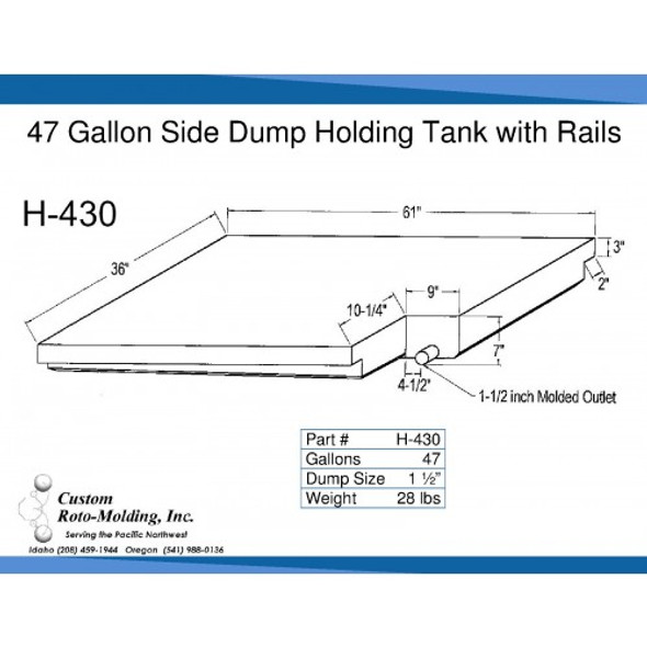 47 Gallon Side Dump RV Holding Tank | H-430