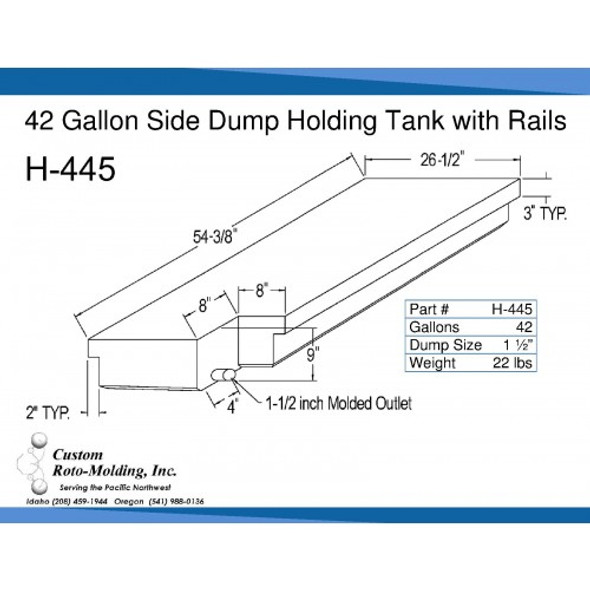42 Gallon Side Dump RV Holding Tank | H-445