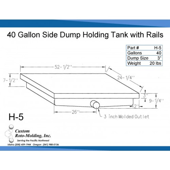 40 Gallon Side Dump RV Holding Tank | H-5