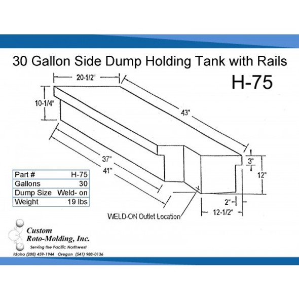 30 Gallon Side Dump RV Holding Tank | H-75