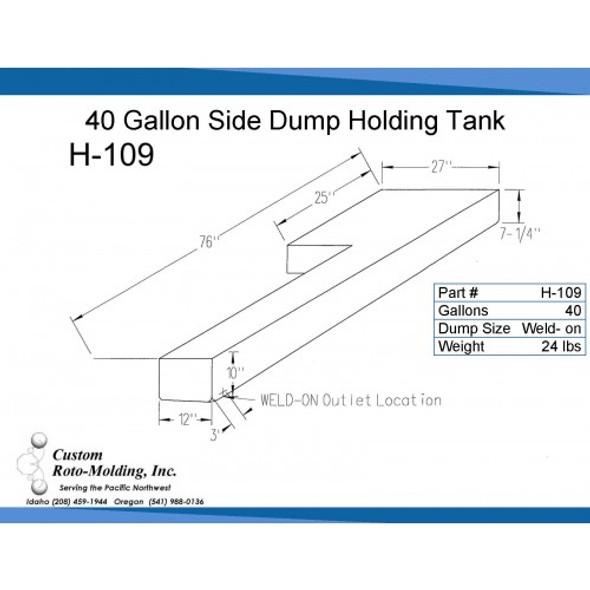 40 Gallon L-Shaped Side Dump Holding Tank | H-109