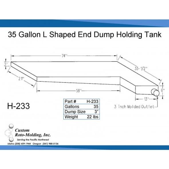 35 Gallon L-Shaped Side Dump Holding Tank | H-233