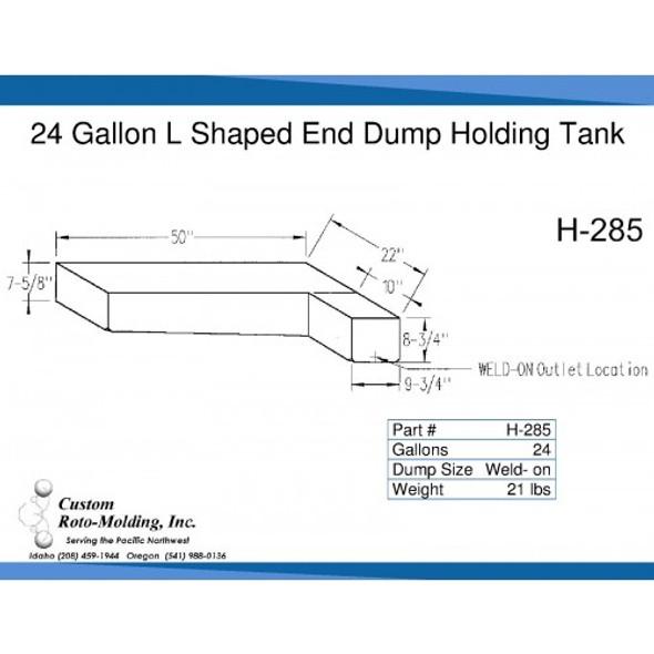 24 Gallon L-Shaped Side Dump Holding Tank | H-285