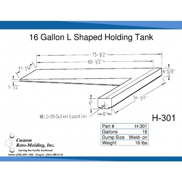 15 Gallon L-Shaped Side Dump Holding Tank | H-301
