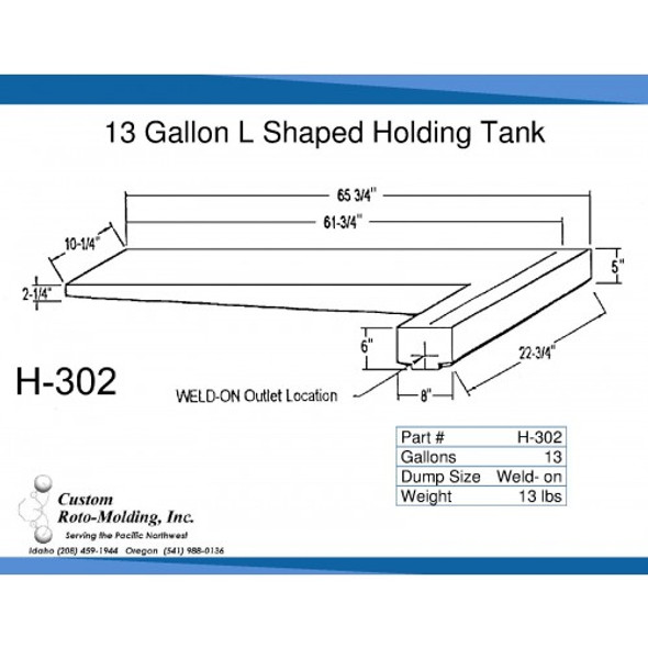 13 Gallon L-Shaped Side Dump Holding Tank | H-302
