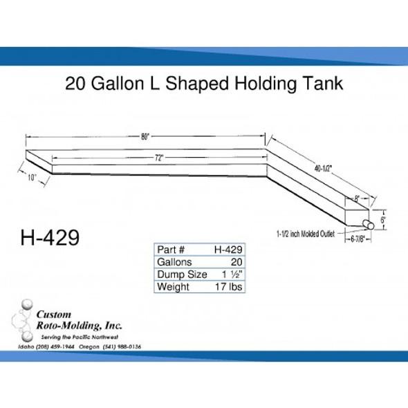 20 Gallon L-Shaped Side Dump Holding Tank | H-429