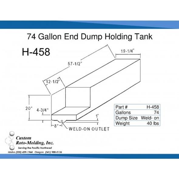 74 Gallon L-Shaped End Dump Holding Tank | H-458