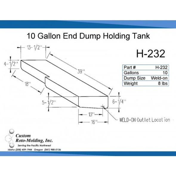10 Gallon L-Shaped End Dump Holding Tank | H-232