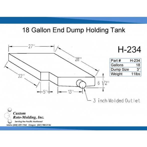 18 Gallon L-Shaped End Dump Holding Tank | H-234