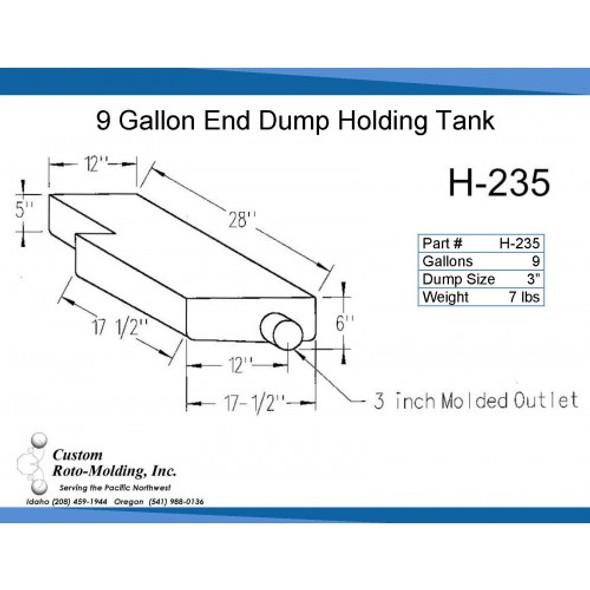 9 Gallon L-Shaped End Dump Holding Tank | H-235