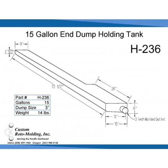 15 Gallon L-Shaped End Dump Holding Tank | H-236